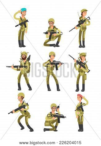 Cartoon Soldiers In Various Actions. Military Men With Weapons. People In Army Vector Set. Military