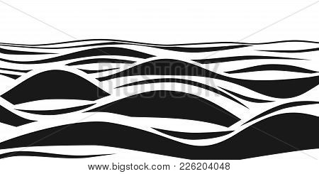 Abstract Black And White Striped 3d Waves. Vector Optical Illusion. Ocean Wave Art Pattern. Wave Eff