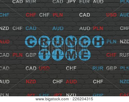 Business Concept: Painted Blue Text Crunch Time On Black Brick Wall Background With Currency