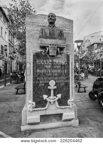 Marseille, France - December 4, 2016: Bust Of Henri Tasso (1882-1944), The Mayor Of Marseilles 1935-