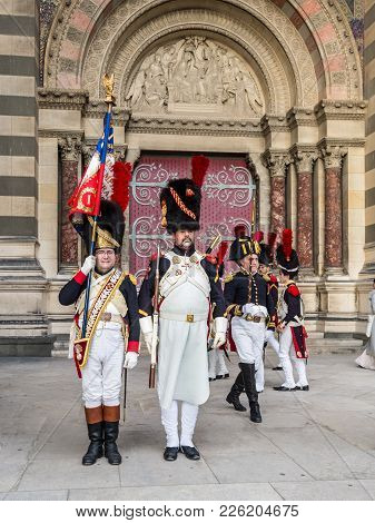 Marseille, France - December 4, 2016: Antique Suit Army Officers At Reconstruction Of Historic Event