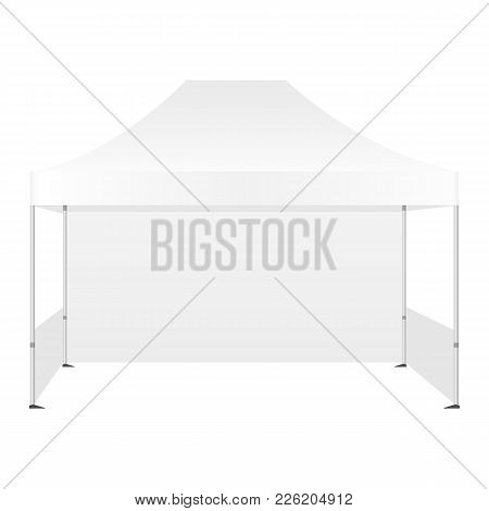 Outdoor Canopy Tent Isolated On White Background - Front View. Vector Illustration