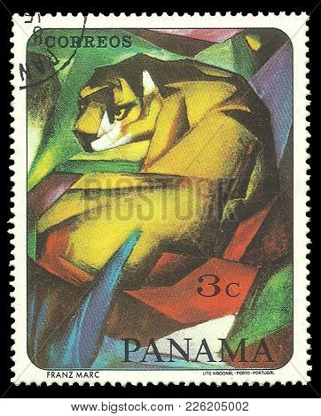 Panama - Circa 1967: Stamp Printed By Portugal, Color Edition On Art, Shows Painting Tiger By Famous