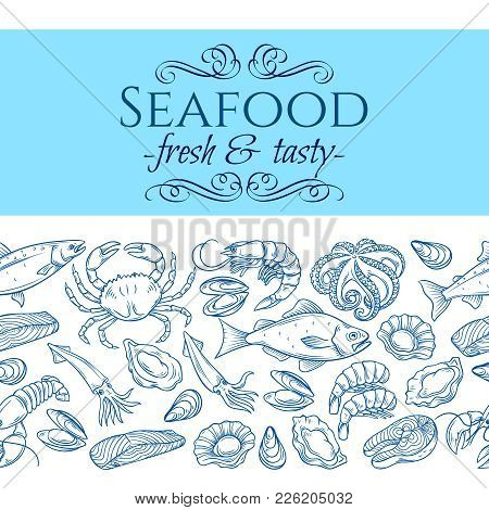 Vector Seamless Border With Hand Drawn Seafood Design With Mussel, Fish Salmon, Shrimp. Lobster, Squ