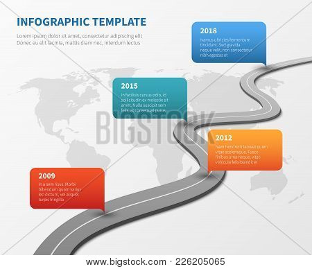Strategy Chronological Road Map. Business Vector Timeline Roadmap Strategy, Process And Structure Or