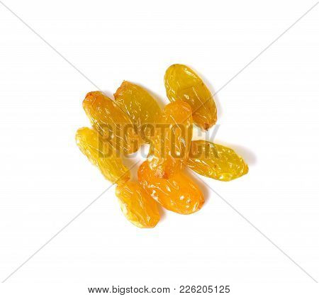 Dried Grapes Raisins Isolated On White Background