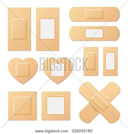 Adhesive Bandage Elastic Medical Plasters Vector Set. Illustration Of Medical Plaster, Elastic Banda