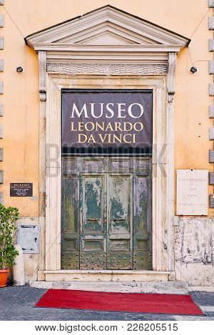 Rome - August 3: Entrance Door To The Museum Of Leonardo Da Vinci August 3, 2017 In Rome, Italy