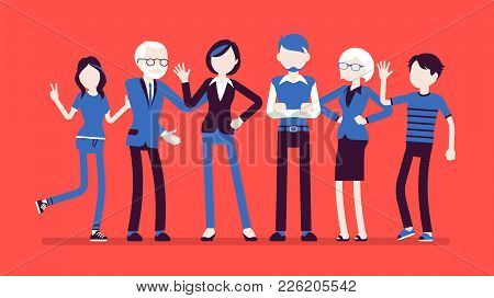 Family Members Together. Grandparents, Parents And Their Children, Happy Friendly Group Of Adults An