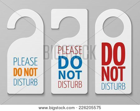 Do Not Disturb Room Vector Signs. Hotel Door Hangers Collection. Do Not Disturb Card And Label Illus
