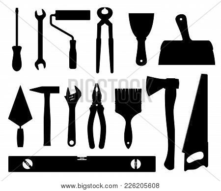 Construction Tools Vector Black Silhouettes Isolated On White Background. Equipment Tools Hammer Scr