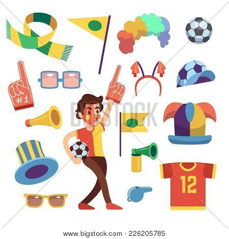 Soccer Sports Funs With Tools To Cheer Team Win. Cartoon Vector Set. Sport Soccer And Football Cheer