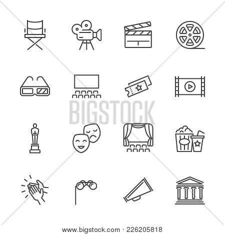 Entertainment And Performance Line Vector Icons. Theater And Cinema Outline Symbols. Cinema And Perf