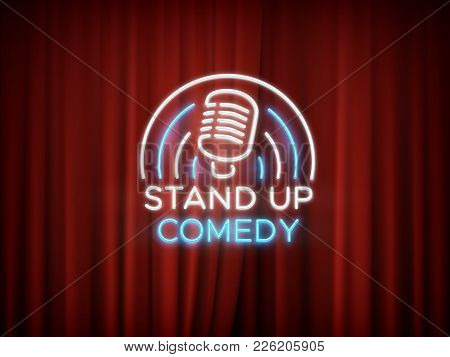 Stand Up Comedy Neon Sign With Microphone And Red Curtain Vector Background. Comedy Show Stand Up, M