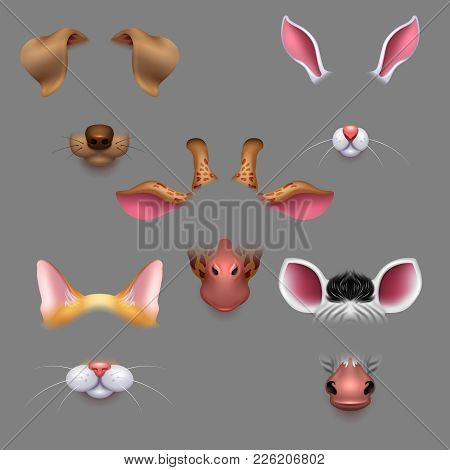 Animal Ears And Noses. Vector Selfie Photo Filters Animals Faces Masks. Funny Effect Animal Mask Ava
