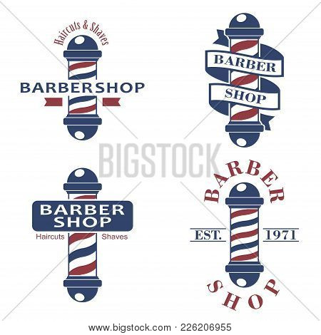 Barber Shop Poles Set. Hairdressing Saloon Icons Isolated On White Background. Barbershop Sign And S