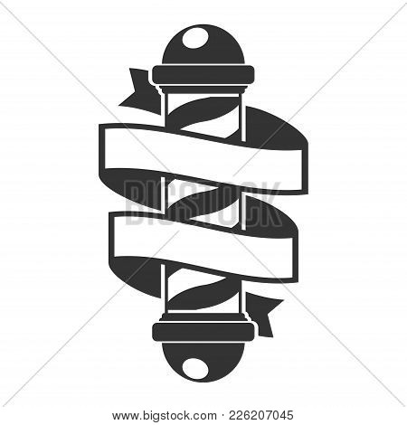 Barber Shop Pole With Ribbon. Hairdressing Saloon Icon Isolated On White Background. Barbershop Sign