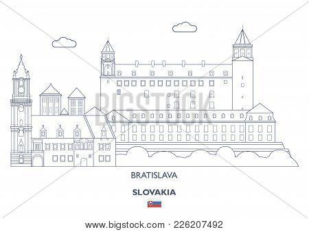 Bratislava Linear City Skyline, Slovakia. Famous Places