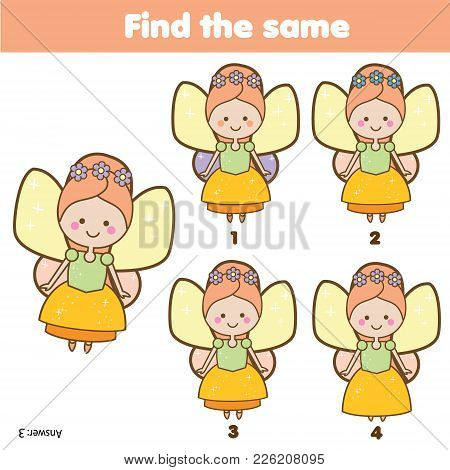 Find the same pictures children educational game. Find same fairy