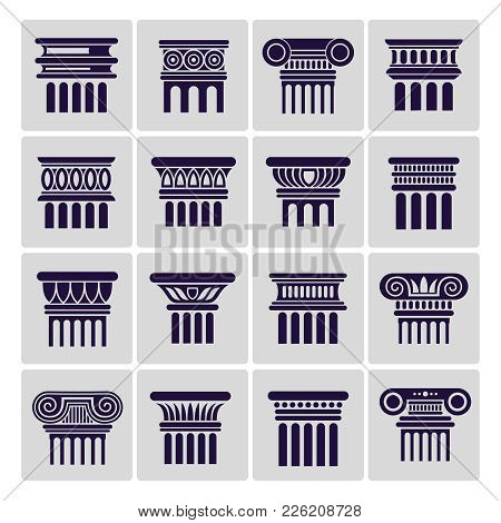 Silhouette Ancient Rome Architecture Column Icons. Vector Architectural Column And Architecture Pill