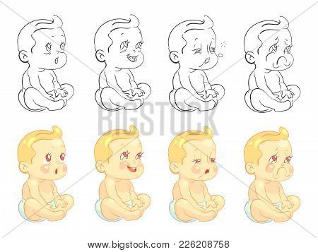 Emotional Cute Baby Coloring Page With Samples Isolated On White Background. Vector Baby Boy Funny F