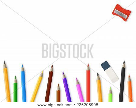 Realistic Pencils Pencil Sharpener Eraser Background - Drawing Mockup Template Design. Colored Penci