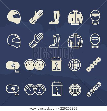 Line And Outline Auto Parts And Motorbike Accessorises Icons. Motorbike Speed Motor Race, Chain And