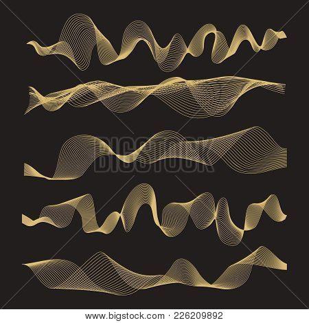 Abstract Waves Vector Set On Black Background. Illustration Of Curve Wave Line, Creative Smooth Digi