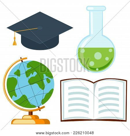 School College University Science Cartoon Icon Set Poster Hat Test Tube Open Book Globe. Flat Vector
