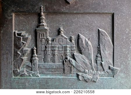 VARAZDIN, CROATIA - JULY 09: The church of St. George on the hill, detail of the entrance door of cathedral of Assumption in Varazdin, Croatia on July 09, 2016.