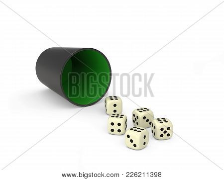 Playing Poker Dice Isolated On White. Combination Of Dice - Poker. 3d Rendering With Clipping Path
