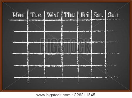 Monthly Schedule Drawn With Chalk On A Blackboard
