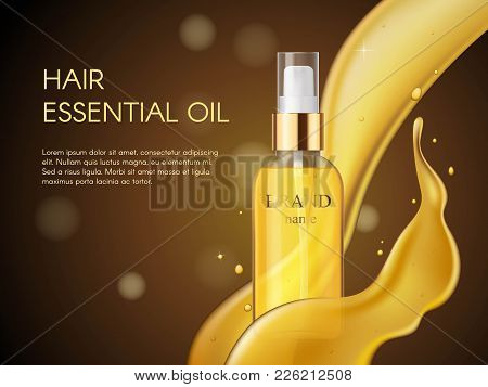 Vector 3d Realistic Beauty Hair Care Protection Cosmetic Product. Golden Hair Oil Container Of Spray