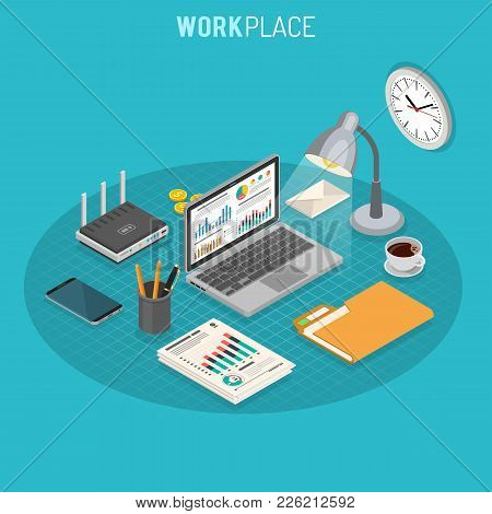 Business Auditing Workplace Isometric Concept With Laptop, Charts, Router And Smartphone Isometric I
