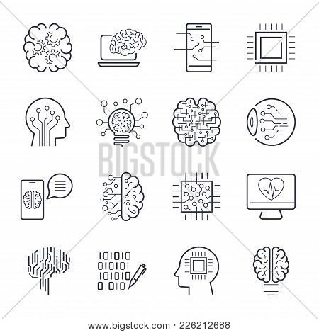 Artificial Intelligence Ai Line Icons. Robot Intellect And Cyborg Chip Mind Signs. Innovation Techno