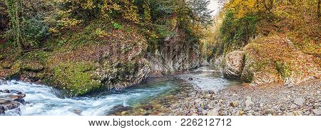 Autumn Panorama Of The River Hosta. Sochi National Park.