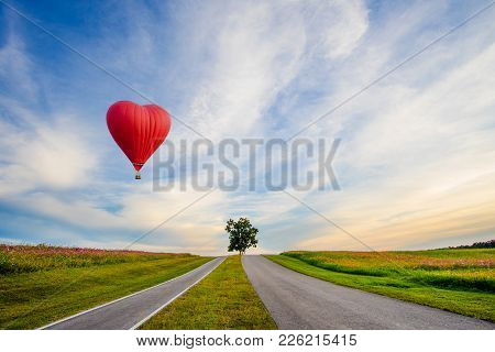 Beautiful Red Balloon In The Shape Of A Heart At Karon Beach, Phuket, Thailand. Asia