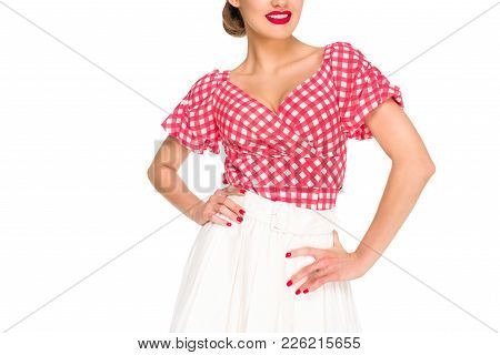 Partial View Of Beautiful Woman In Retro Style Clothing Isolated On White