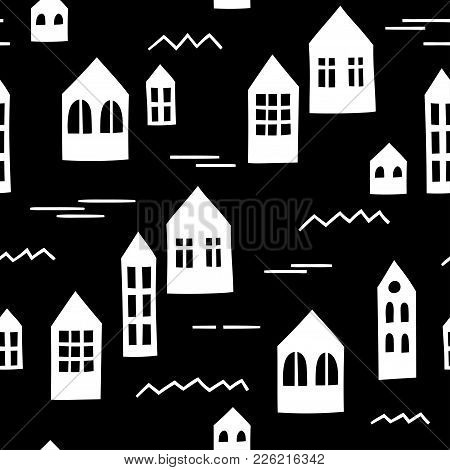 Black And White Seamless Pattern With Primitive Houses. Vector Template Suitable For Wrapping Paper,