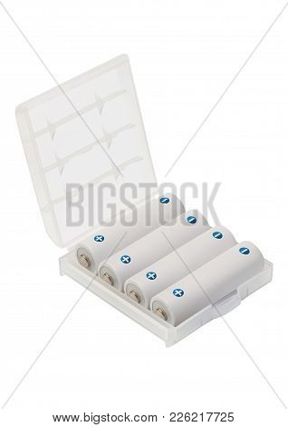 Aa Batteries In Box Over White Background