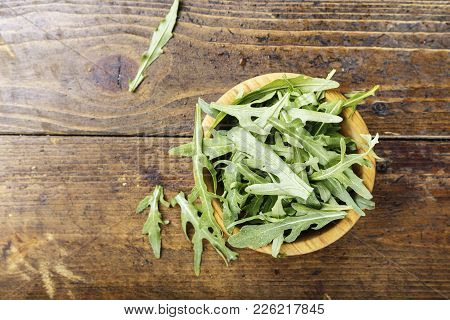Fresh Arugula Leaves, Rucola.space For Text.