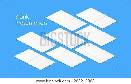 White Blank App Screens Mockup Perspective. Isometric Web Wireframing Pages Template To Display Any