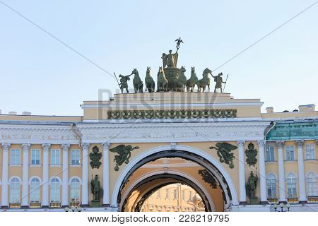 Triumphal Arch Of General Staff Building At Palace Square In Saint-petersburg, Russia. Historic Land