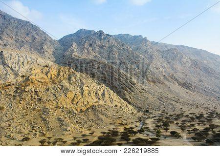 Jabal Jais Mountain And Desert Landscape Near Ras Al Khaimah, Uae