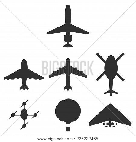 Airplane, Helicopter, Drone, Air Balloon And Hang-glider Icons Set. Black Vector Silhouette Top View