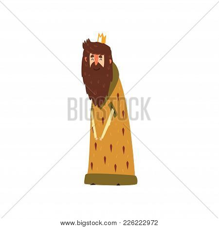 Funny Bearded King Character In Mantle Cartoon Vector Illustration On A White Background