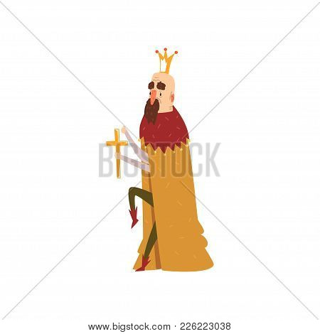 Funny Bald King Character In Mantle Holding Golden Cross Cartoon Vector Illustration On A White Back