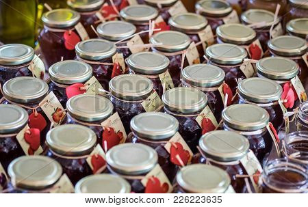 Kokhav Michael, Israel - February 2, 2018: Fresh Plum And Peach Homemade Jam In Jars For Sale At Far