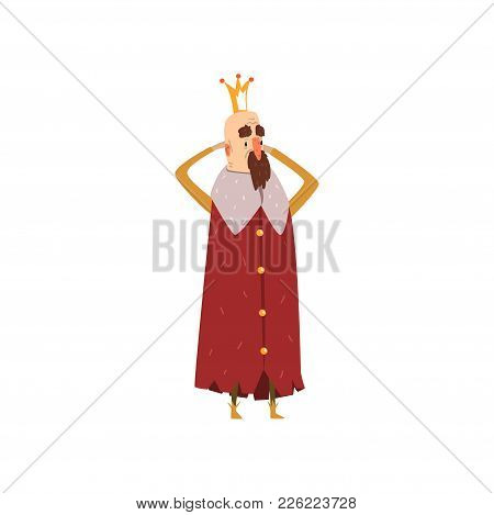 Funny Bearded King Character In Red Mantle Holding His Head Cartoon Vector Illustration On A White B