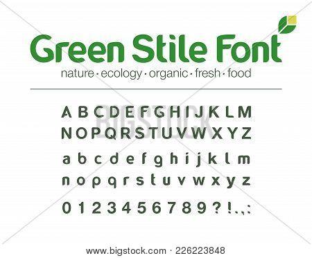 Universal Brand Name Font. Food, Drink, Organic, Environment, Nature, Green Energy, Bio Medicine Abc